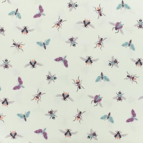 Tissu coton popeline bugs - écru x 10cm