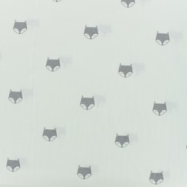 Cotton poplin fabric fox - white x 10cm
