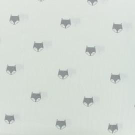 Tissu coton popeline renard gris - blanc x 10cm