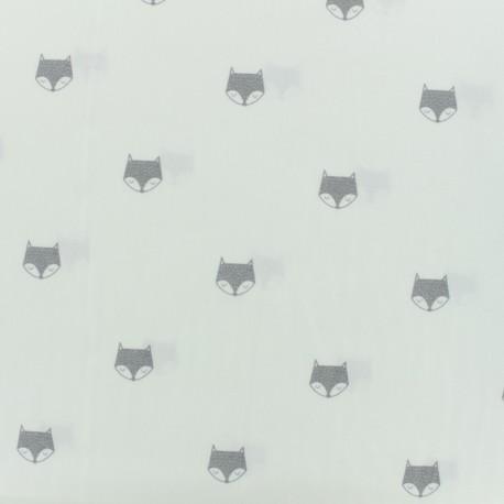 Tissu coton voile de popeline renard gris - blanc x 10cm