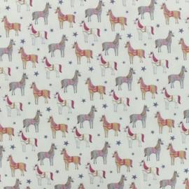 Tissu coton popeline licorne - écru x 10cm