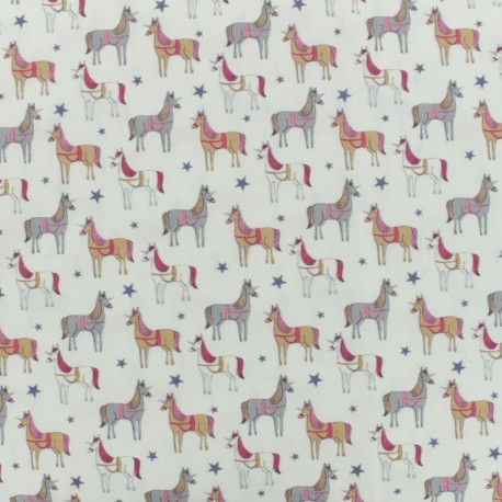 Cotton poplin fabric unicorn - ivory x 10cm