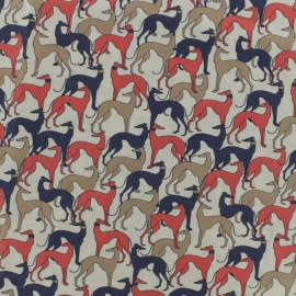 Cotton poplin fabric greyhound - beige x 10cm