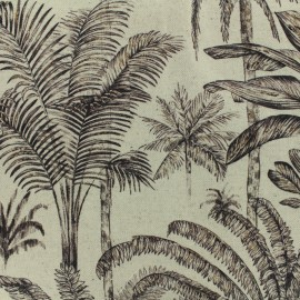♥ Coupon 100 cm X 140 cm ♥  Tissu lin Forêt tropicale - naturel