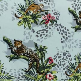 Tissu Gabardine satin Jungle - blanc x 25cm