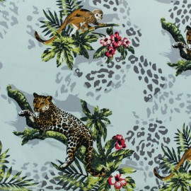 Satiny gabardine fabric Jungle - white x 25cm