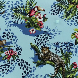 Satiny gabardine fabric Jungle by Penelope® - blue x 25cm