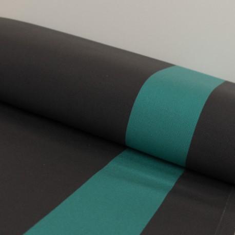 Outdoor canvas fabric Playa Cannes - dark grey and lagoon x 10cm
