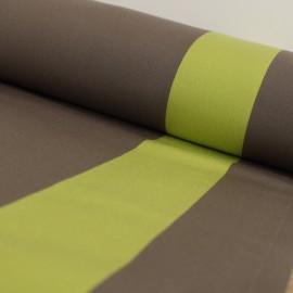 Tissu Toile Transat Playa Cannes - taupe et anis x 10cm