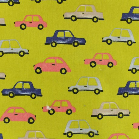 Cotton poplin fabric Poppy Traffic - mustard x 10cm