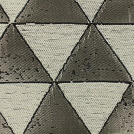 Tissu jacquard tissé Giorgio - argent creme x 17cm