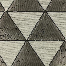 Woven jacquard canvas Giorgio - silver and cream x 17cm