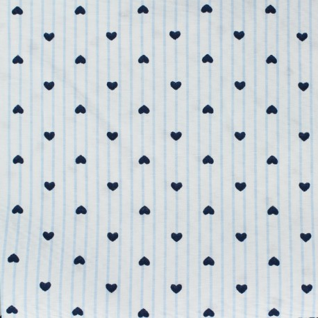 Poly cotton supple fabric Small heart - sky blue x 10cm