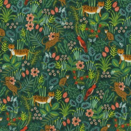 Tissu toile de coton Cotton Steel Rifle Paper Co. Menagerie - tigre x 30cm