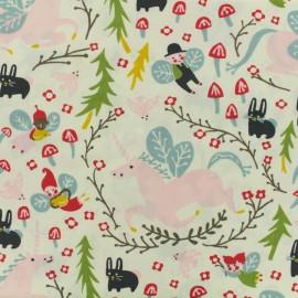 Tissu Bio Popeline de coton Folkland enchanted unico - cream x 10cm
