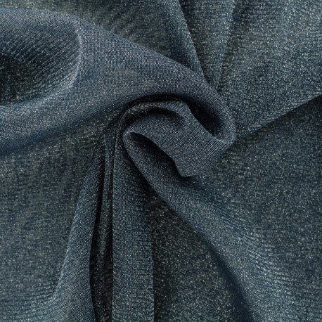 Lurex Flexible Tulle blue denim - silver x 10cm