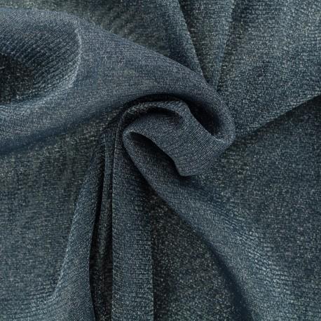 Tulle souple lurex bleu denim - argent x10cm