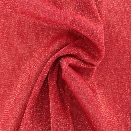 Tulle souple lurex rouge - argent x10cm