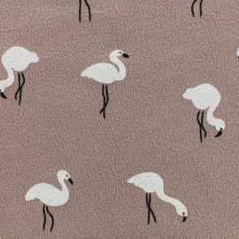 Tissu sweat léger crêpe White flamingo - rose x 10cm