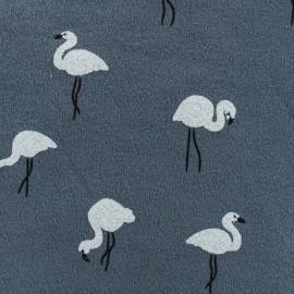 Tissu sweat léger crêpe White flamingo - bleu gris x 10cm