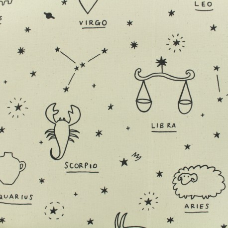 Tissu toile de coton naturel Kokka Co. Line Drawing - blanc naturel x 30cm