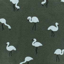 Tissu sweat léger crêpe White flamingo - kaki x 10cm