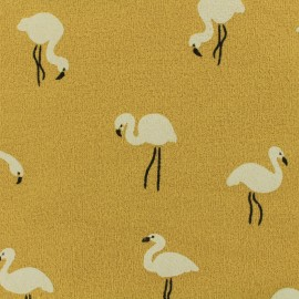 Tissu sweat léger crêpe White flamingo - moutarde x 10cm