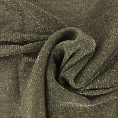 Lurex Flexible Tulle khaki - silver x 10cm