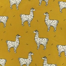 Tissu Bio jersey léger Lucky lama - moutarde x 10cm