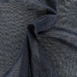 Tulle souple lurex marine - argent x10cm