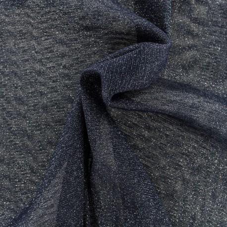 Lurex Flexible Tulle navy - silver x 10cm
