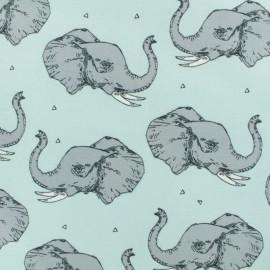Tissu Bio jersey léger Majestic elephant - aqua blue x 10cm