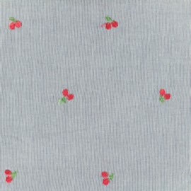 Petite Cerise Embroidered Cotton voile Fabric - blue x 10cm