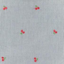 Tissu voile de coton brodé Petite Cerise - bleu x 10cm