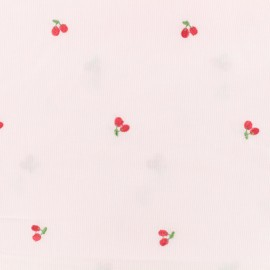 Petite Cerise Embroidered Cotton voile Fabric - pink x 10cm