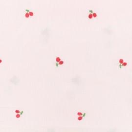 Tissu voile de coton brodé Petite Cerise - rose x 10cm