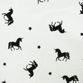 Tissu jersey léger Licornes - blanc x 10cm