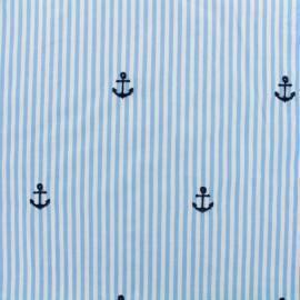 Petite Ancre Embroidered Cotton voile Fabric - blue x 10cm
