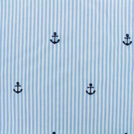 Tissu voile de coton brodé Petite Ancre - bleu x 10cm