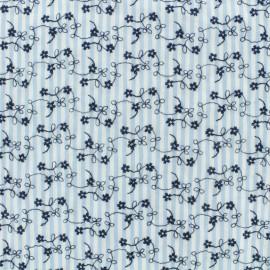 Tissu voile de coton brodé Petit Jardin - bleu x 10cm