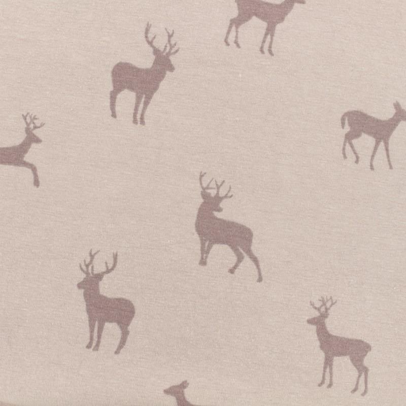 tissu jersey l ger cerf rose poudr x 10cm. Black Bedroom Furniture Sets. Home Design Ideas