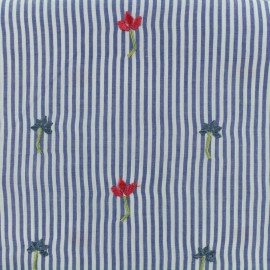 Petite Fleur Embroidered Cotton voile Fabric - sky blue x 10cm