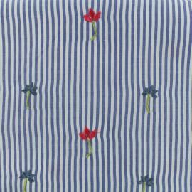 Tissu voile de coton brodé Petite fleur - bleu ciel x 10cm