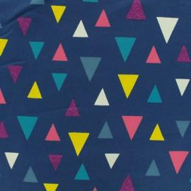 Tissu jersey léger triangles - bleu marine x 10cm
