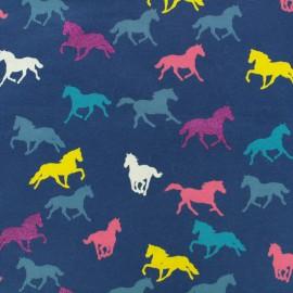 Tissu jersey léger Licornes - bleu marine x 10cm