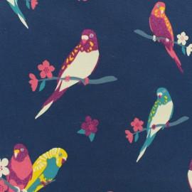 Tissu jersey léger Oiseaux - bleu marine x 10cm