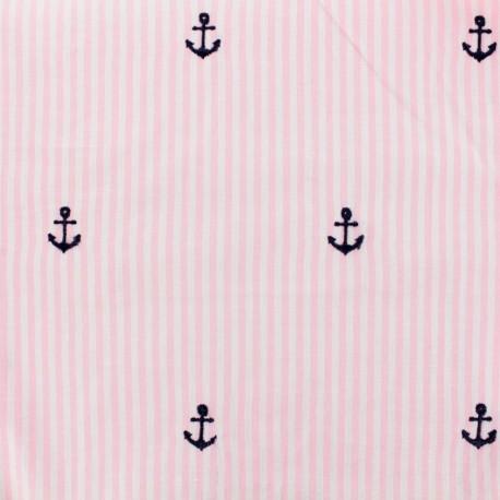 Tissu voile de coton brodé Petite Ancre - rose x 10cm