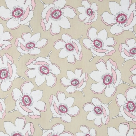 AGF cotton fabric Chérie - Plum and magnolia x 10cm