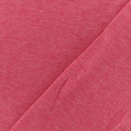 Tissu Oeko-Tex sweat léger chiné - fraise x 10cm