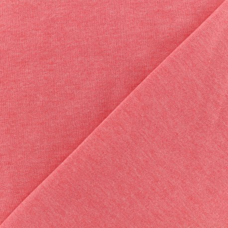 Tissu Oeko-Tex sweat léger chiné - corail x 10cm